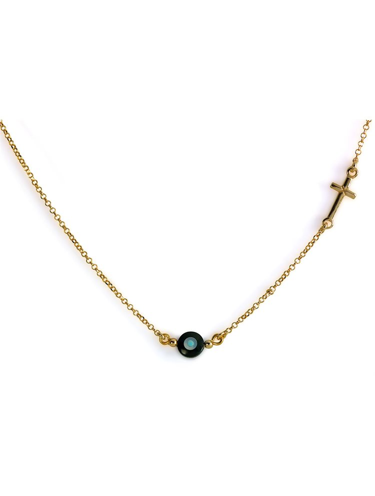 Διακριτικό κολιέ ασημένιο 925 με σταυρό στο πλάι - Ρόζ χρυσό