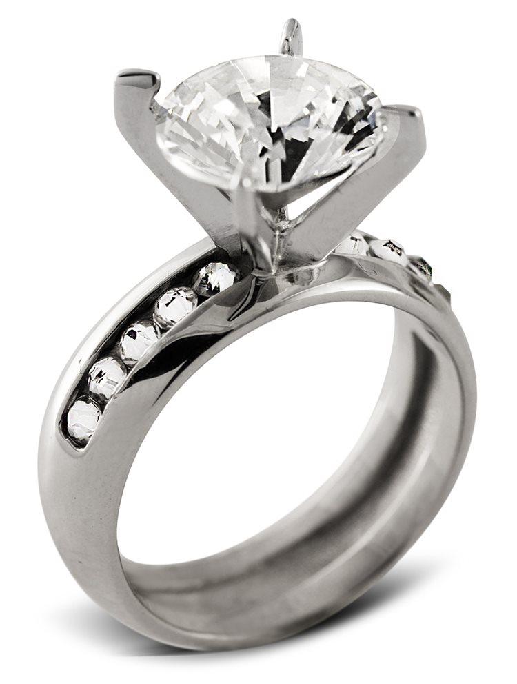 Μονόπετρο δαχτυλίδι με πέτρες Swarovski