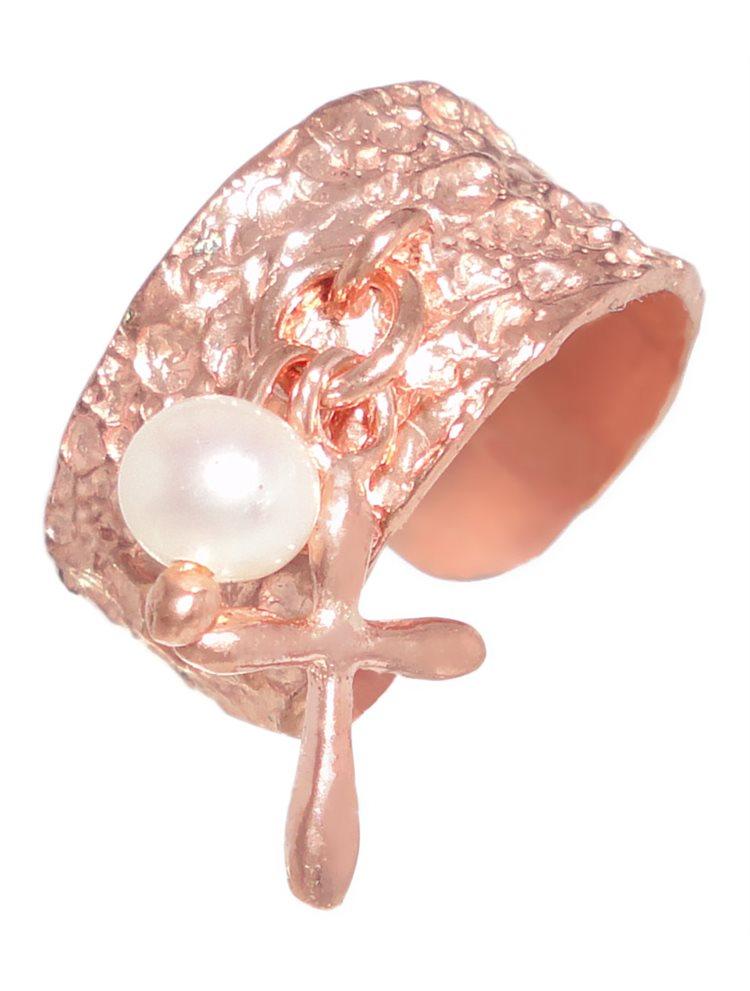 Σεβαλιέ δαχτυλίδι χειροποίητο ασημένιο ρόζ-χρυσό 925