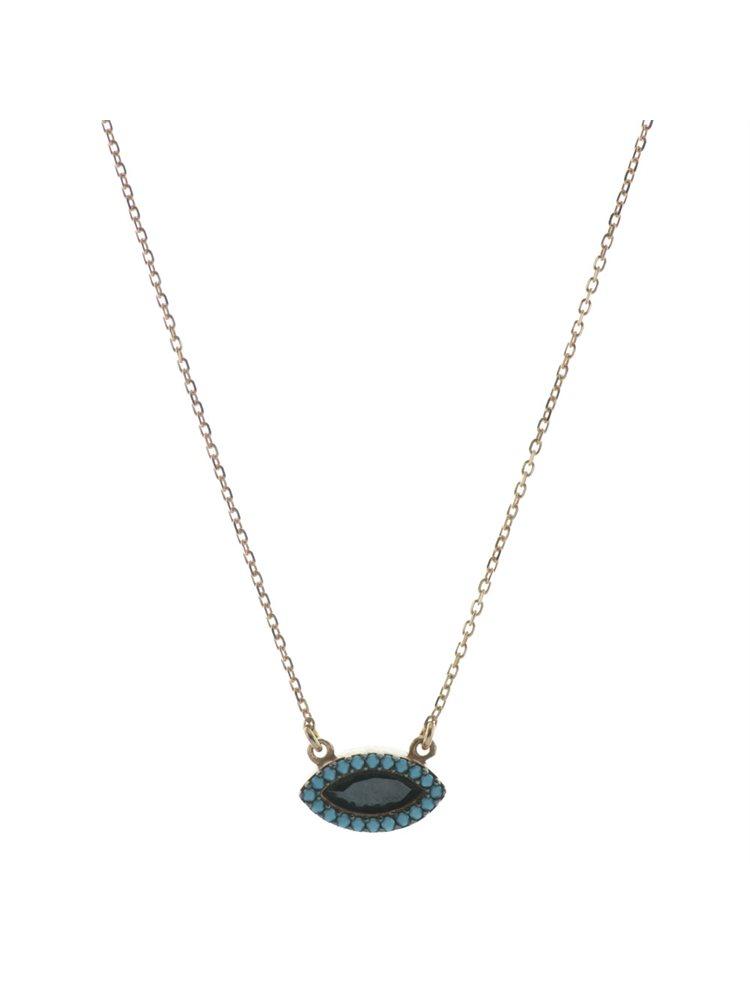 Κολιέ από ρόζ επιχρυσωμένο ασήμι με πέτρα ζιργκόν και τυρκουάζ