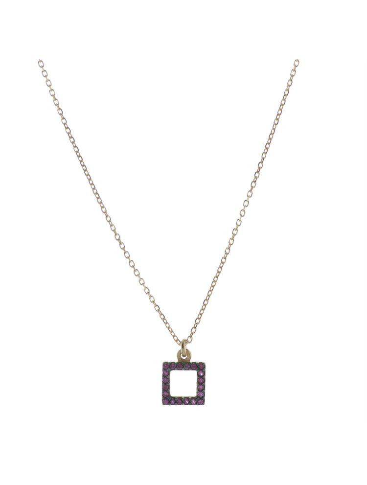 Κολιέ τετράγωνο από ρόζ επιχρυσωμένο ασήμι με πέτρες ζιργκόν b5f4631f151