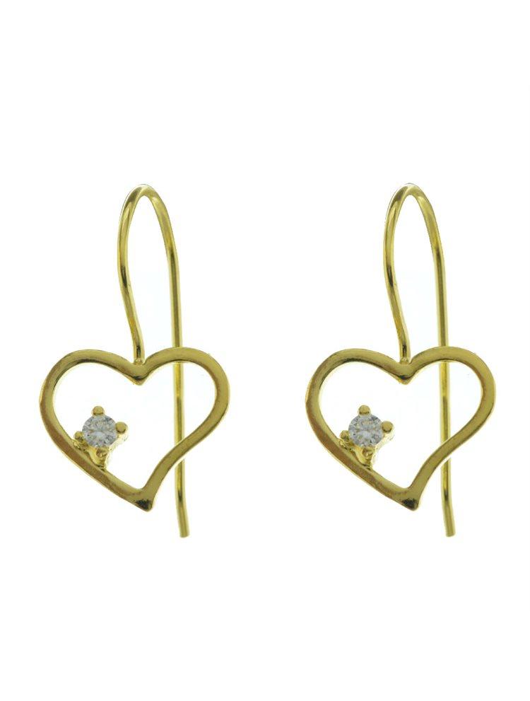 Χειροποίητα σκουλαρίκια από επιχρυσωμένο ασήμι με πέτρα ζιργκόν