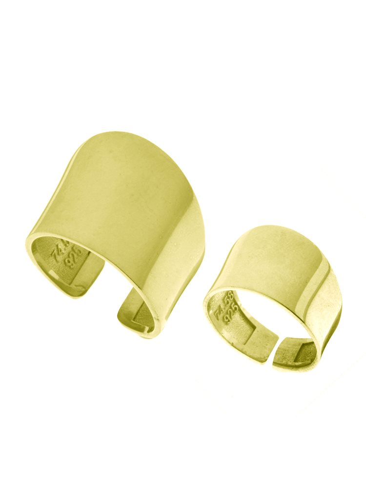 Δύο Χειροποίητα μοντέρνα δαχτυλίδια Σέτ από επιχρυσωμένο ασήμι One size