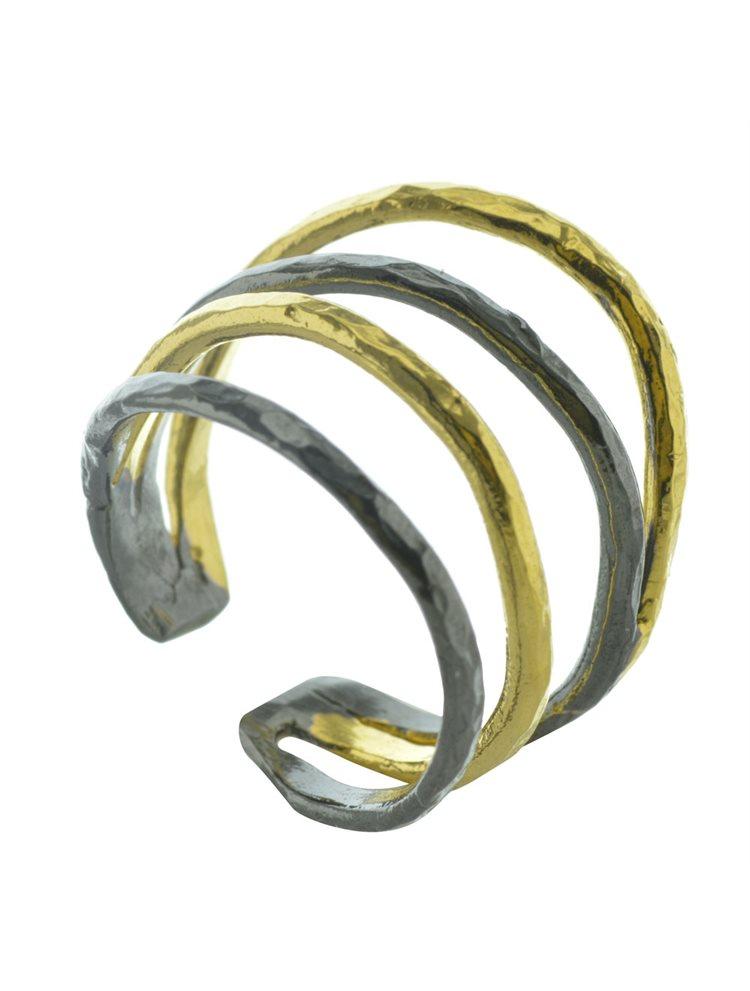 Χειροποίητο δαχτυλίδι από επιχρυσωμένο ασήμι και μαύρο επιπλατινωμένο ασήμι