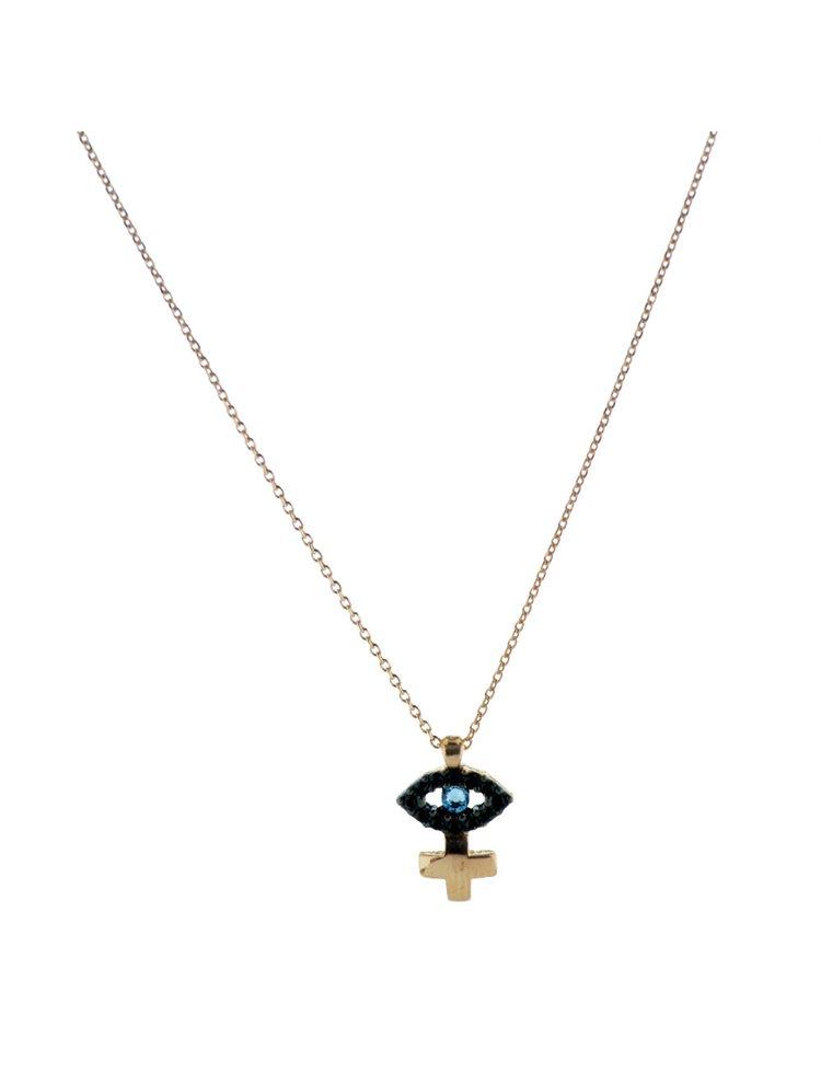 Κολιέ μάτι με σταυρό και πέτρες swarovski από ρόζ επιχρυσωμένο ασήμι