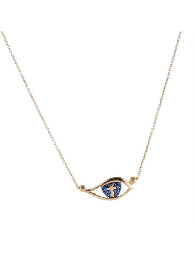 Κολιέ μάτι με έσωτερικό σταυρό και πέτρες swarovski από ρόζ επιχρυσωμένο ασήμι