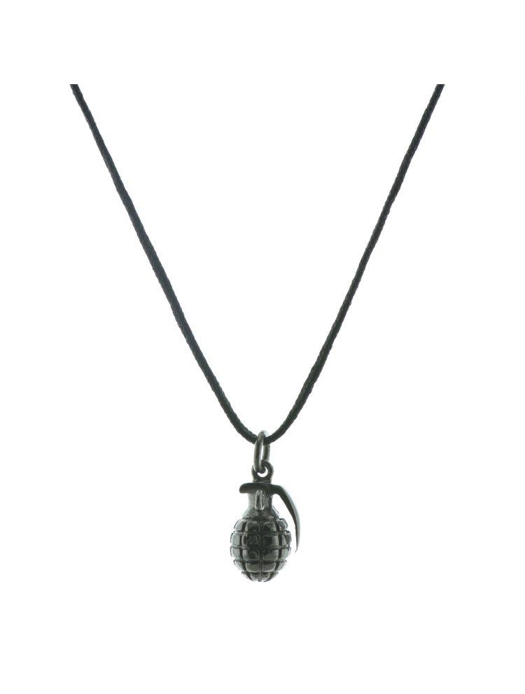 Ανδρικό κολιέ με κορδόνι και μενταγιόν με χειροβομβίδα από μαύρο πλατινωμένο ασήμι