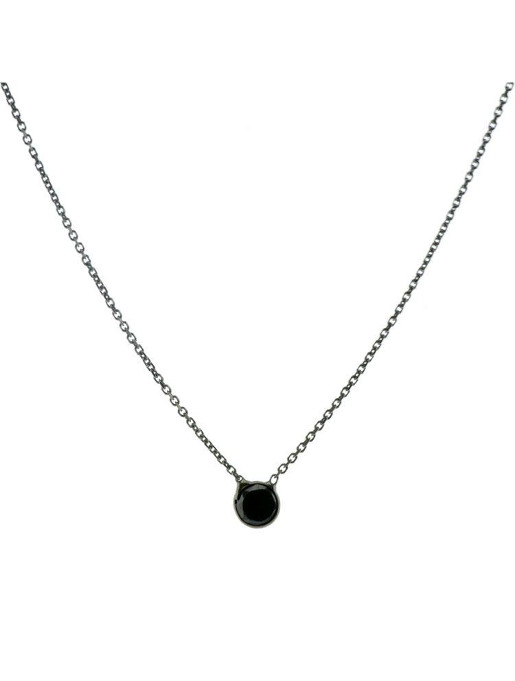 Κολιέ με μαύρο ζιργκόν διακριτικό από μαύρο πλατινωμένο ασήμι