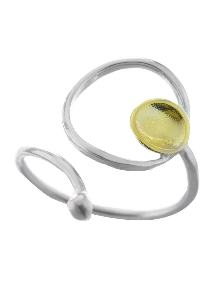 Δαχτυλίδι χειροποίητο από ασήμι και με κύκλο από επιχρυσωμένο ασήμι