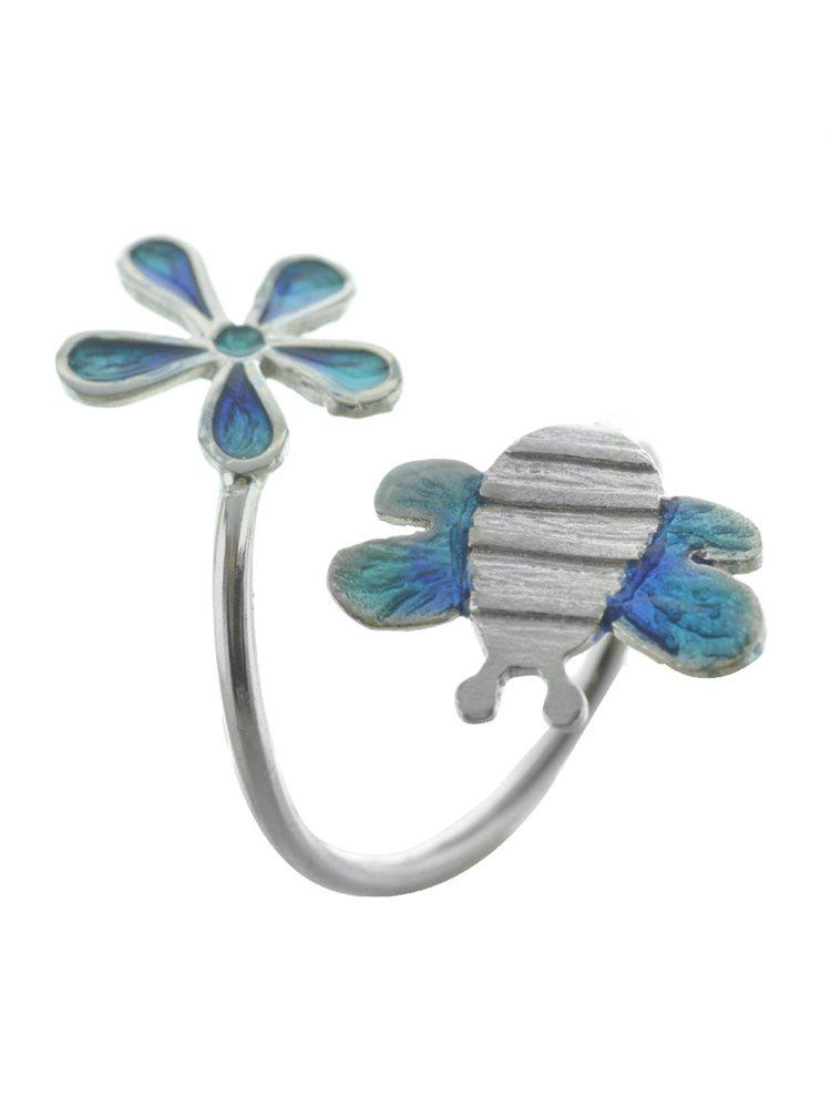 Δαχτυλίδι χειροποίητο μέλισσα με λουλούδι από ασήμι