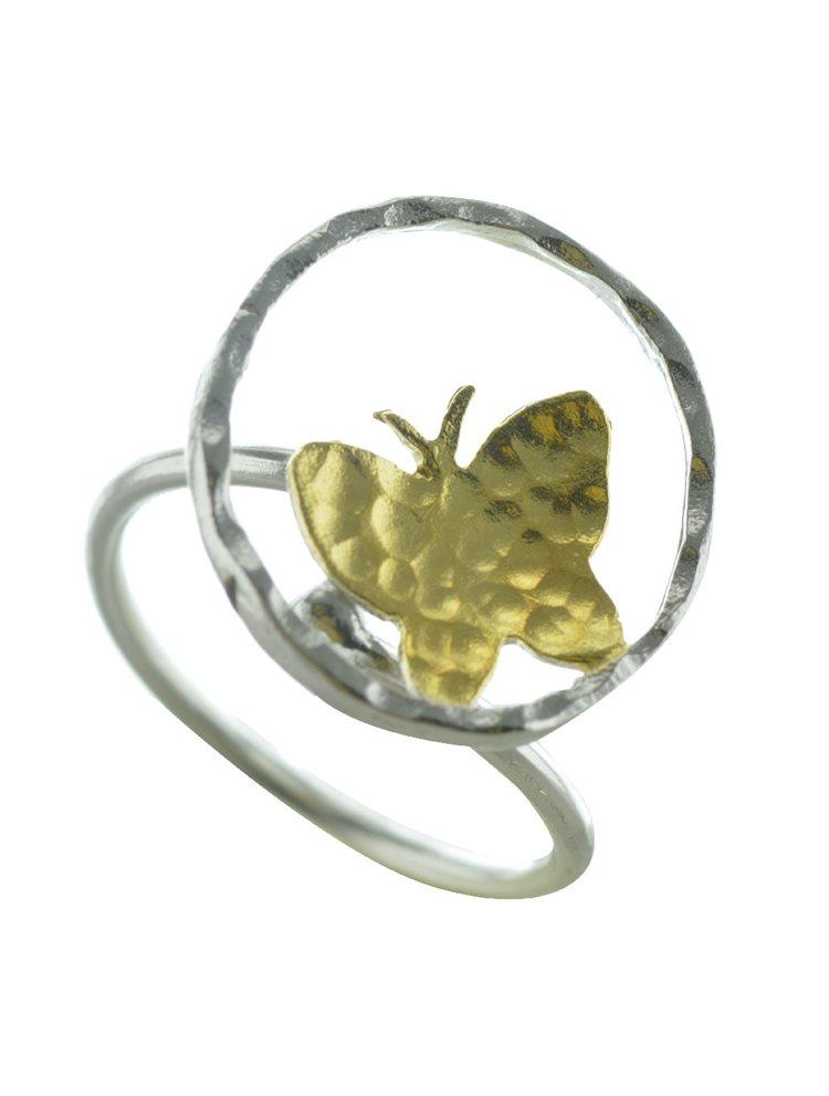 Δαχτυλίδι χειροποίητο από ασήμι με επιχρυσωμένο ασήμι πεταλούδα