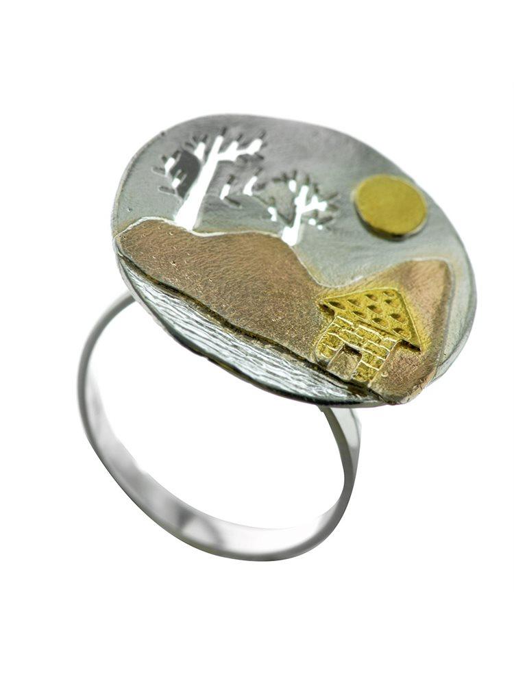 Δαχτυλίδι χειροποίητο από ασήμι σπίτι στο δάσος