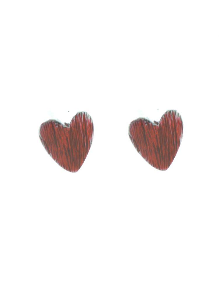 Χειροποίητα σκουλαρίκια από ασήμι καρδιές με σμάλτο