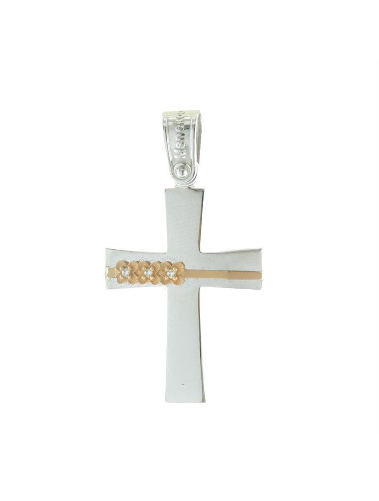 Σταυρός βάπτισης για κοριτσάκι από λευκόχρυσο K14 με ρόζ χρυσό λεπτομέριες και πέτρες ζιργκόν