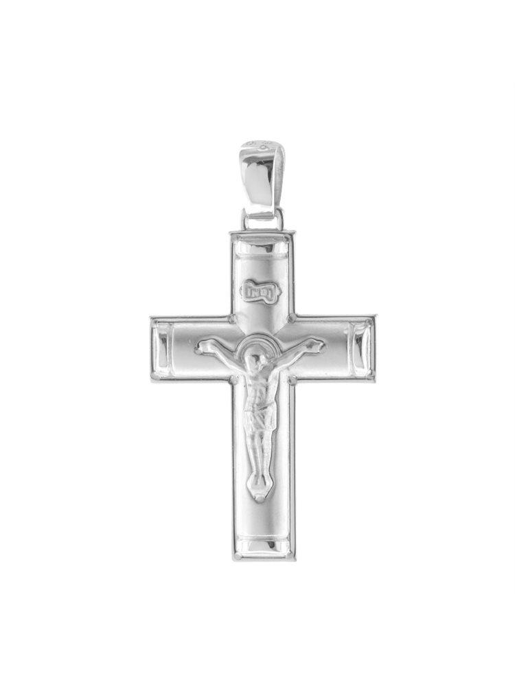 Σταυρός βάπτισης για αγόρι από λευκόχρυσο K14