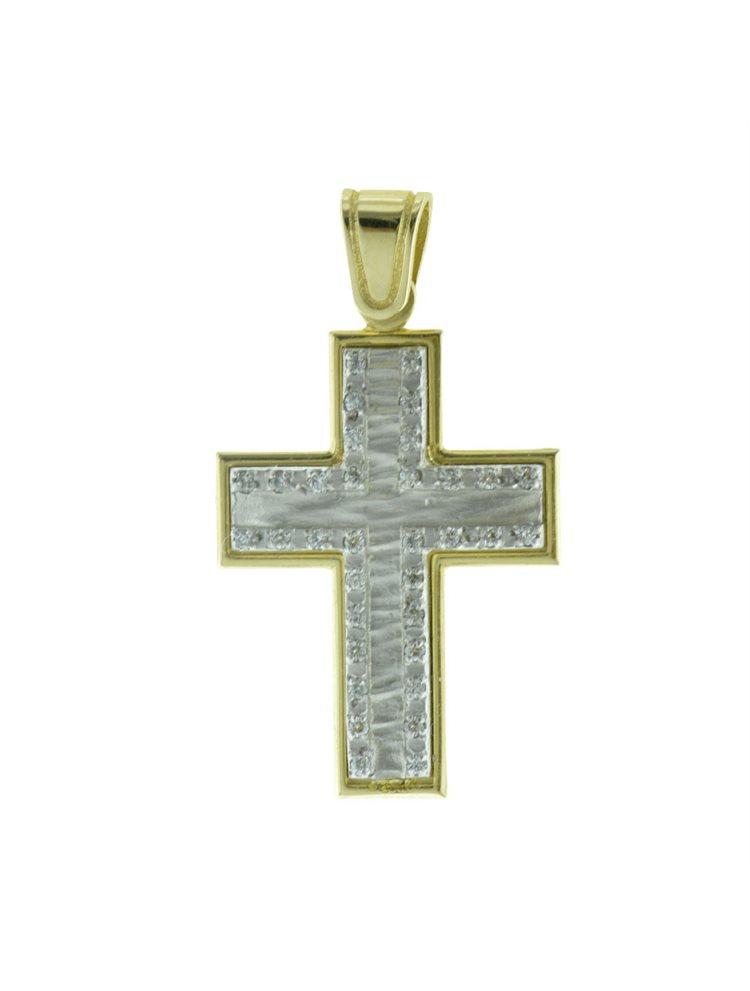 Σταυρός βάπτισης για κορίτσι δίχρωμος από χρυσό 14K και λευκόχρυσο K14 με πέτρες ζιργκόν