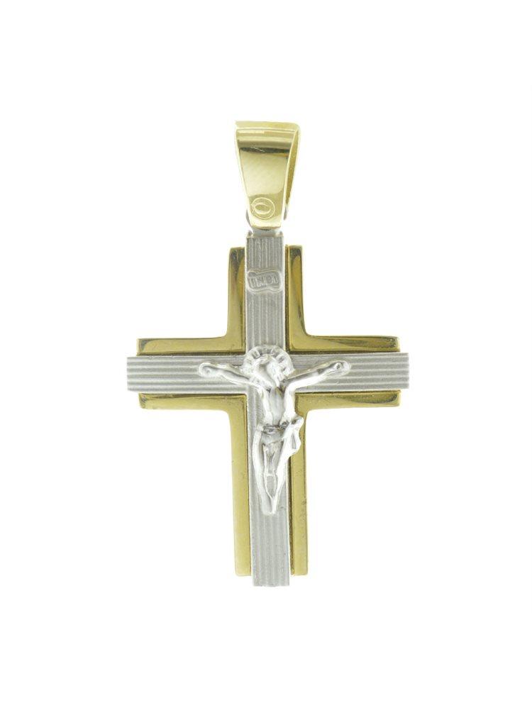 Σταυρός βάπτισης για αγόρι δίχρωμος από χρυσό 14K και λευκόχρυσο K14