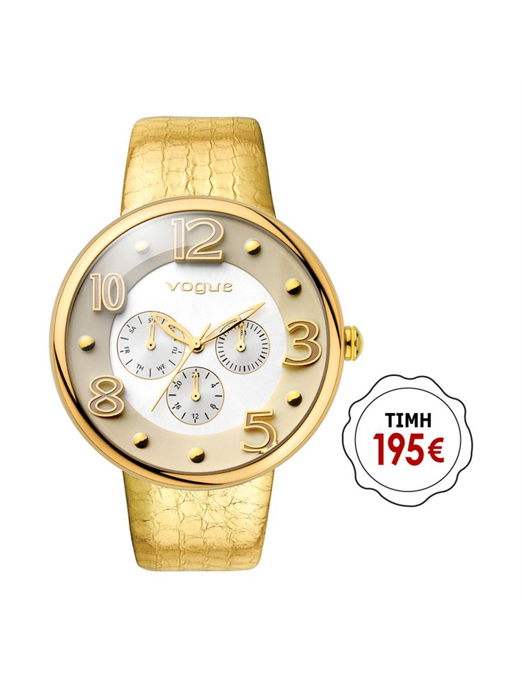 Vogue Ladies Dome Multifunction Gold Leather Strap 17024.3