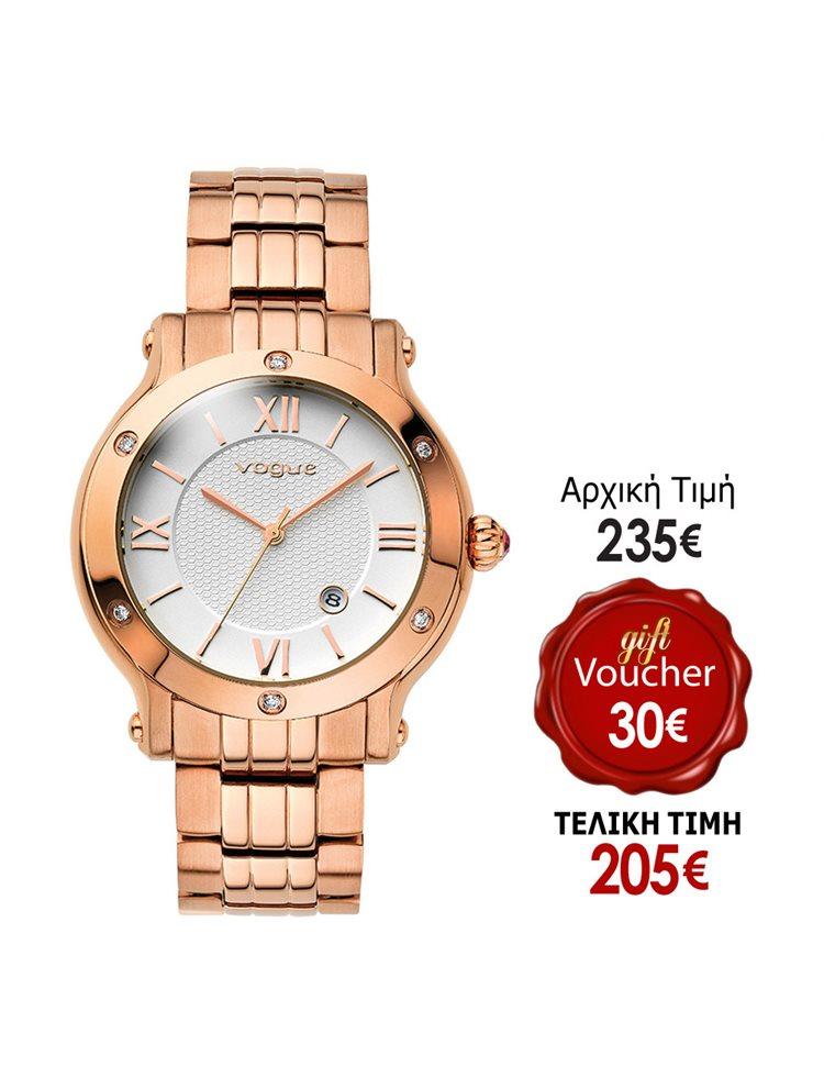 Vogue Grace Crystal Rose Gold Stainless Steel Bracelet 97006.2