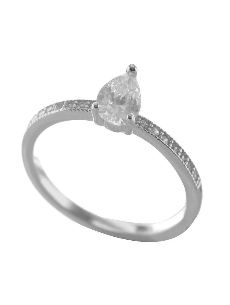 Μονόπετρο δαχτυλίδι από ασήμι με πέτρες ζιργκόν