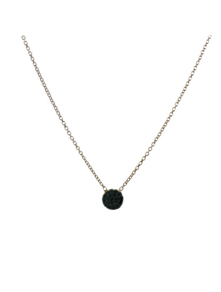 Κολιέ κύκλος με μαύρες πέτρες ζιργκόν σε ρόζ επιχρυσωμένο ασήμι