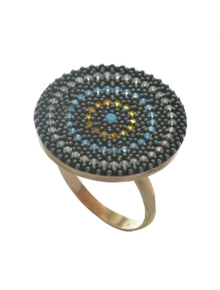 Εντυπωσιακό δαχτυλίδι στόχος από ρόζ επιχρυσωμένο ασήμι με πέτρες ζιργκόν