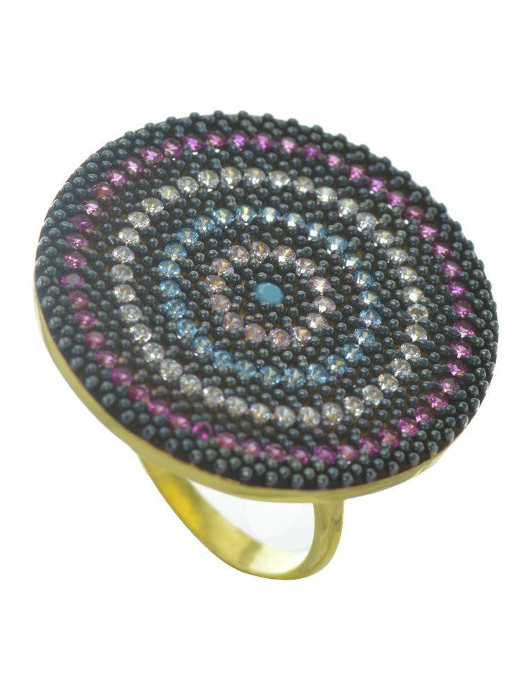 Εντυπωσιακό δαχτυλίδι στόχος από επιχρυσωμένο ασήμι με πέτρες ζιργκόν
