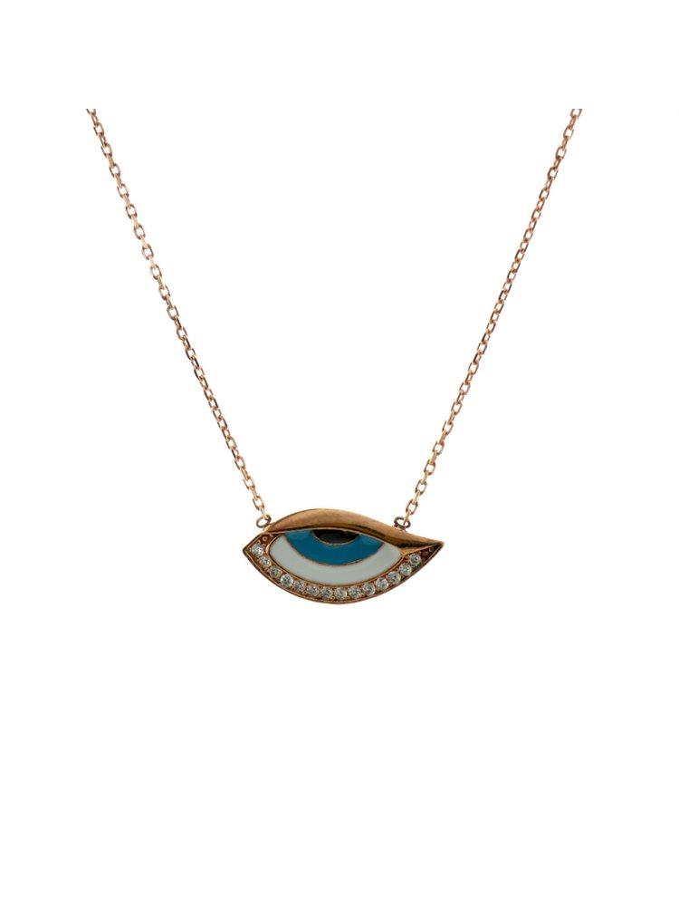 Κολιέ μάτι από ρόζ επιχρυσωμένο ασήμι με πέτρες ζιργκόν και σμάλτο