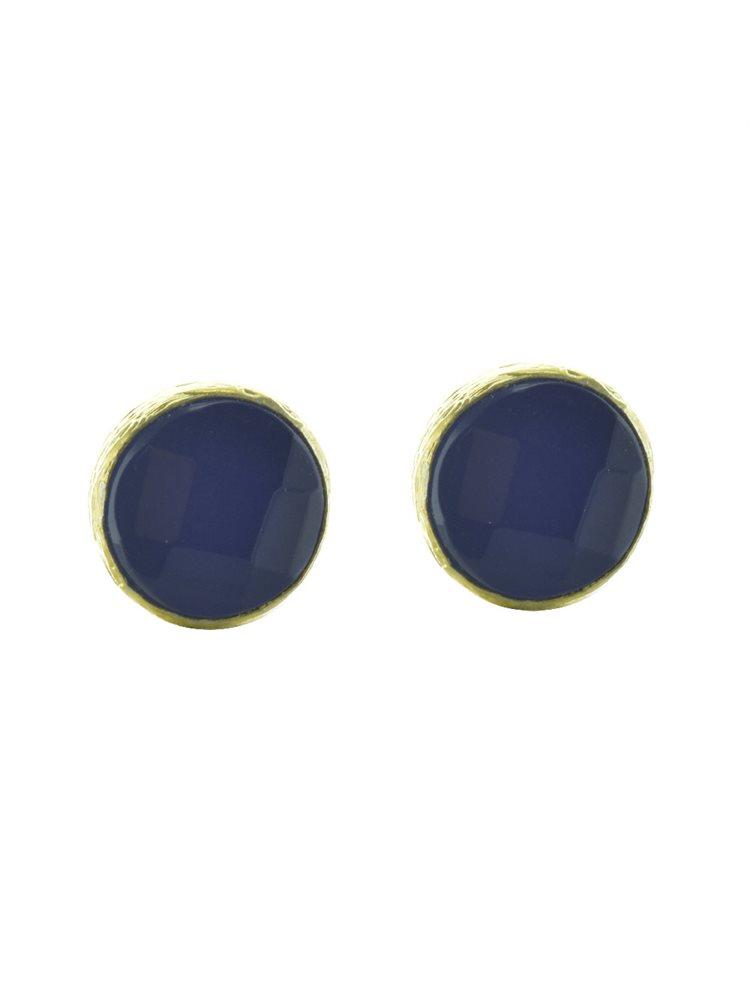 Σκουλαρίκια από επιχρυσωμένο ασήμι με πέτρα blue jade