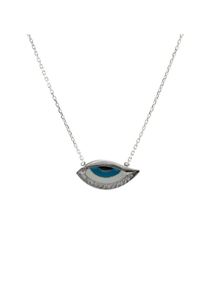 Κολιέ μάτι από ασήμι με πέτρες ζιργκόν και σμάλτο