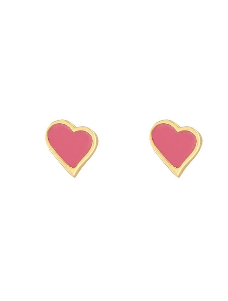 Παιδικά σκουλαρίκια από καρδιές επιχρυσωμένο ασήμι και σμάλτο
