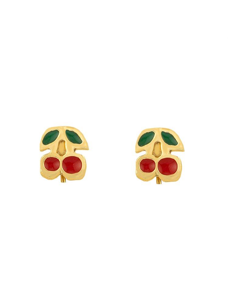 Παιδικά σκουλαρίκια κερασάκια από επιχρυσωμένο ασήμι και σμάλτο