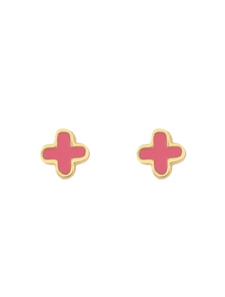 Παιδικά σκουλαρίκια σταυροί από επιχρυσωμένο ασήμι και σμάλτο