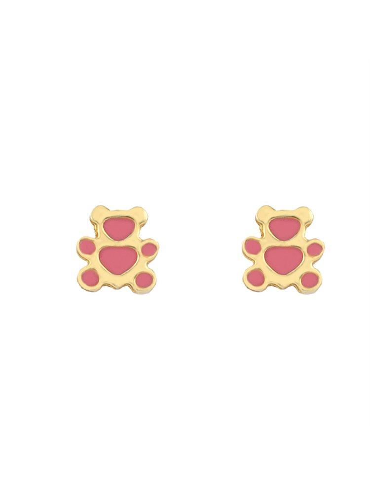 Παιδικά σκουλαρίκια αρκουδάκια από επιχρυσωμένο ασήμι και σμάλτο