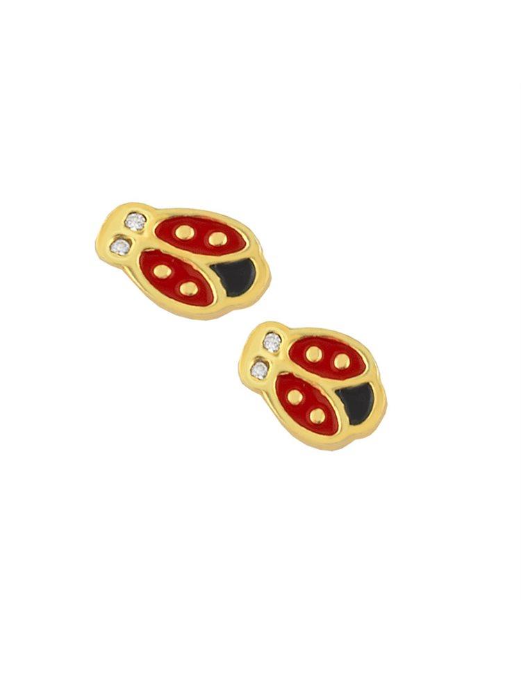 Παιδικά σκουλαρίκια πασχαλίτσες από επιχρυσωμένο ασήμι και σμάλτο