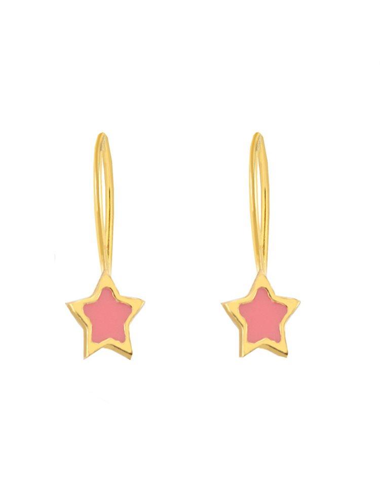 Παιδικά σκουλαρίκια αστεράκια κρεμαστά από επιχρυσωμένο ασήμι και σμάλτο