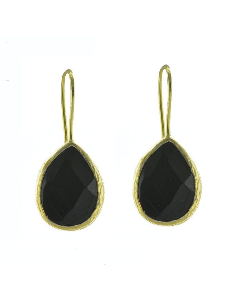 Σκουλαρίκια από επιχρυσωμένο ασήμι με πέτρες όνυχα