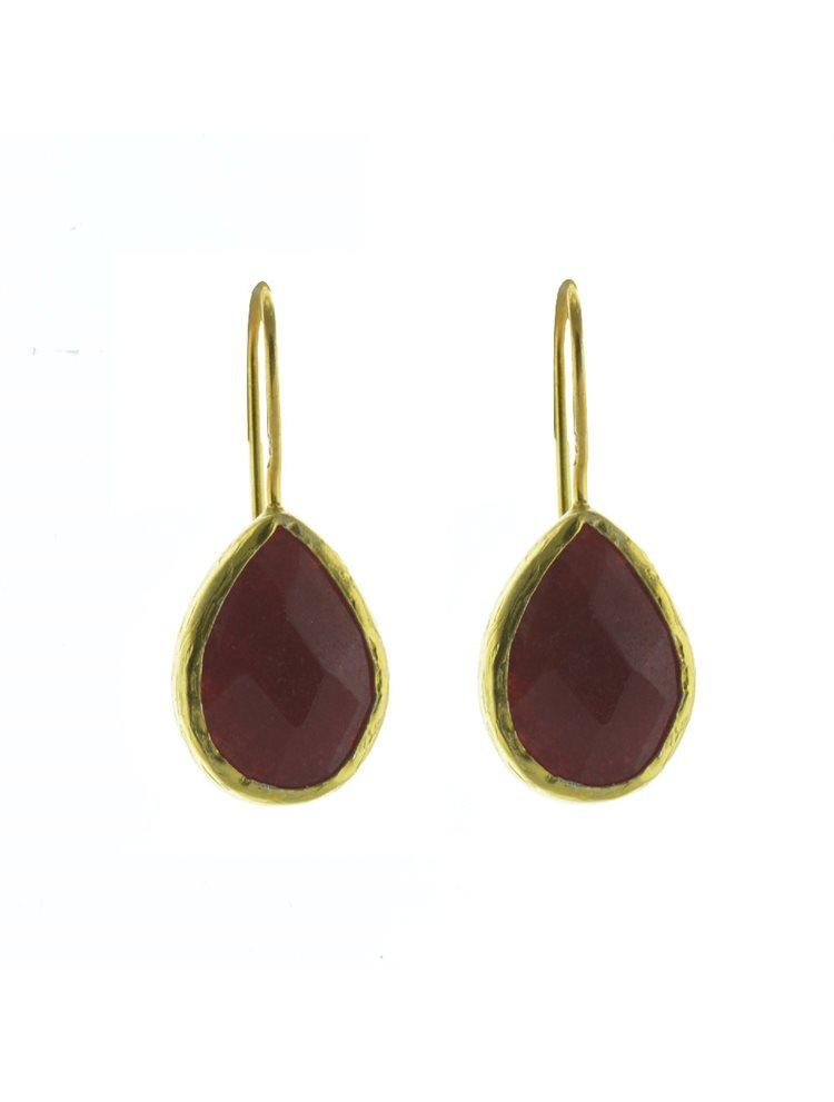 Σκουλαρίκια από επιχρυσωμένο ασήμι με πέτρες red jade