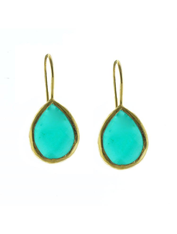 Σκουλαρίκια από επιχρυσωμένο ασήμι με πέτρες jade