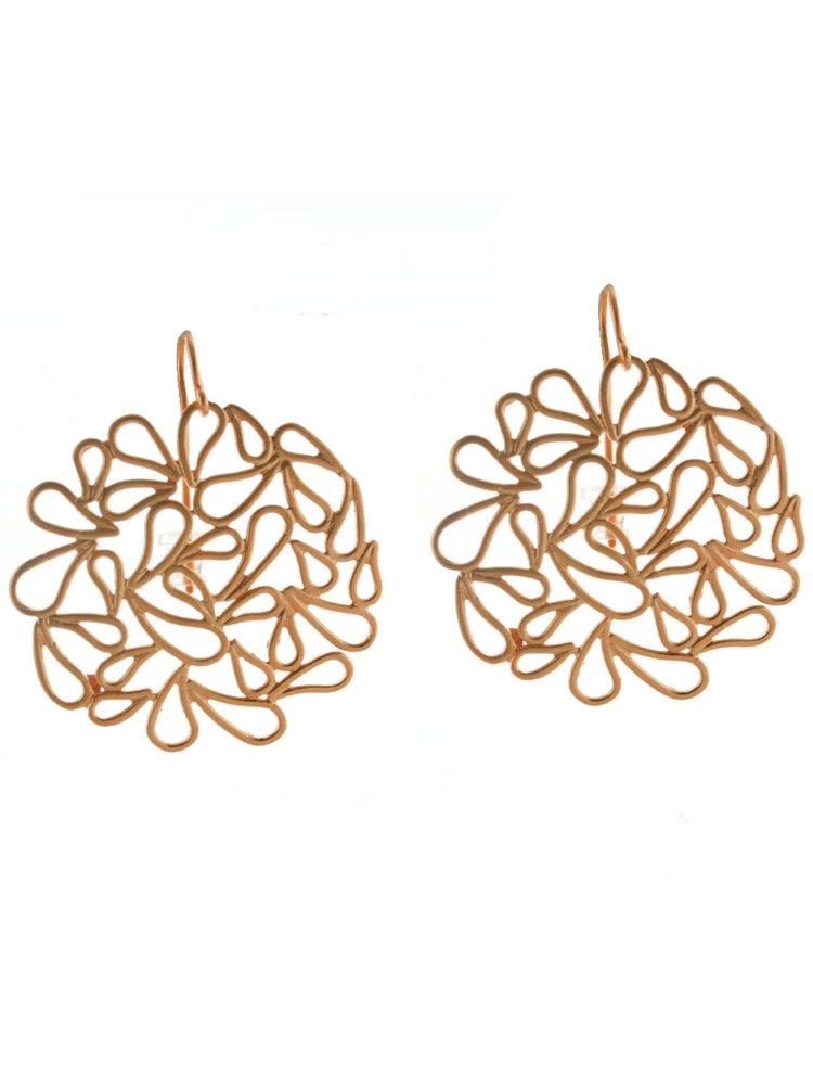 Εντυπωσιακά χειροποίητα σκουλαρίκια από ρόζ επιχρυσωμένο ασήμι