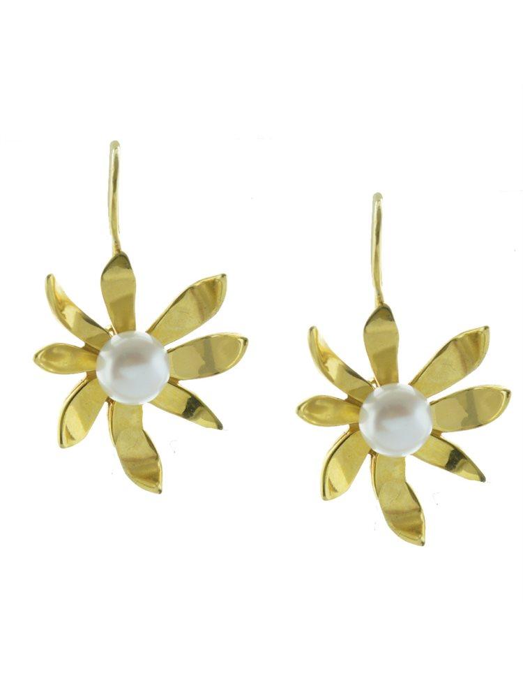 Χειροποίητο εντυπωσιακό ζευγάρι σκουλαρίκια από επιχρυσωμένο ασήμι με μαργαριτάρια