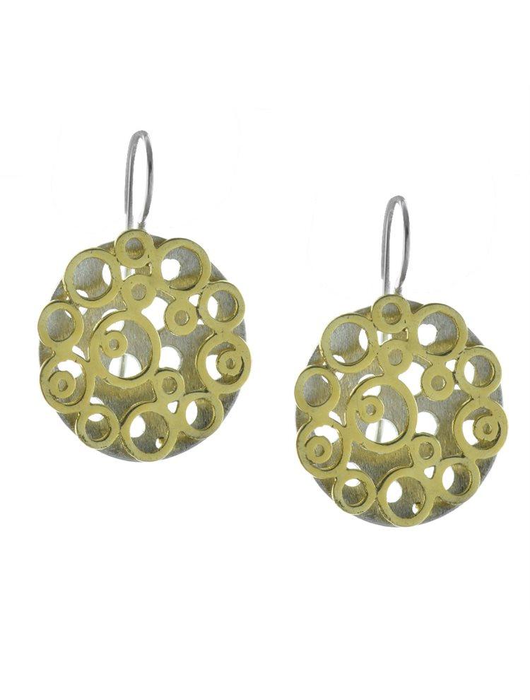 Χειροποίητο εντυπωσιακό ζευγάρι σκουλαρίκια από επιχρυσωμένο ασήμι