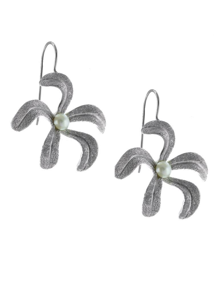 Χειροποίητο εντυπωσιακό ζευγάρι σκουλαρίκια από ασήμι με μαργαριτάρια