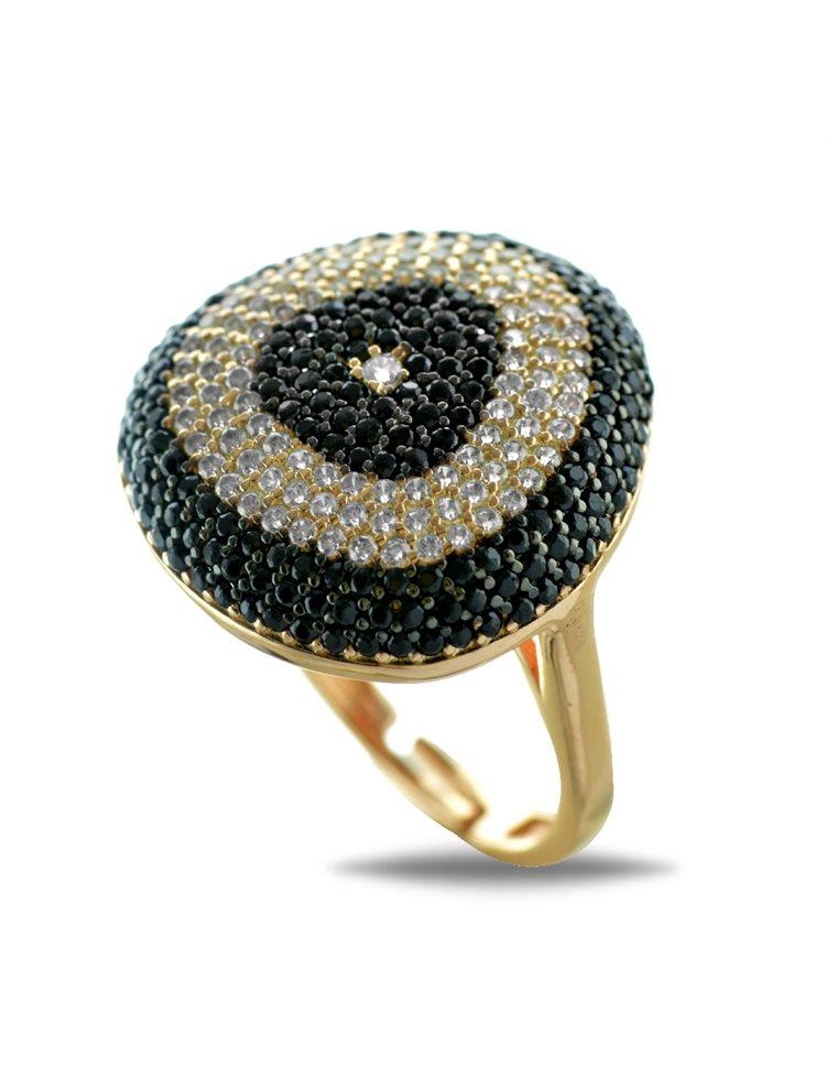Εντυπωσιακό δαχτυλίδι ασημένιο σε ρόζ επιχρύσωμα με πέτρες ζιργκόν