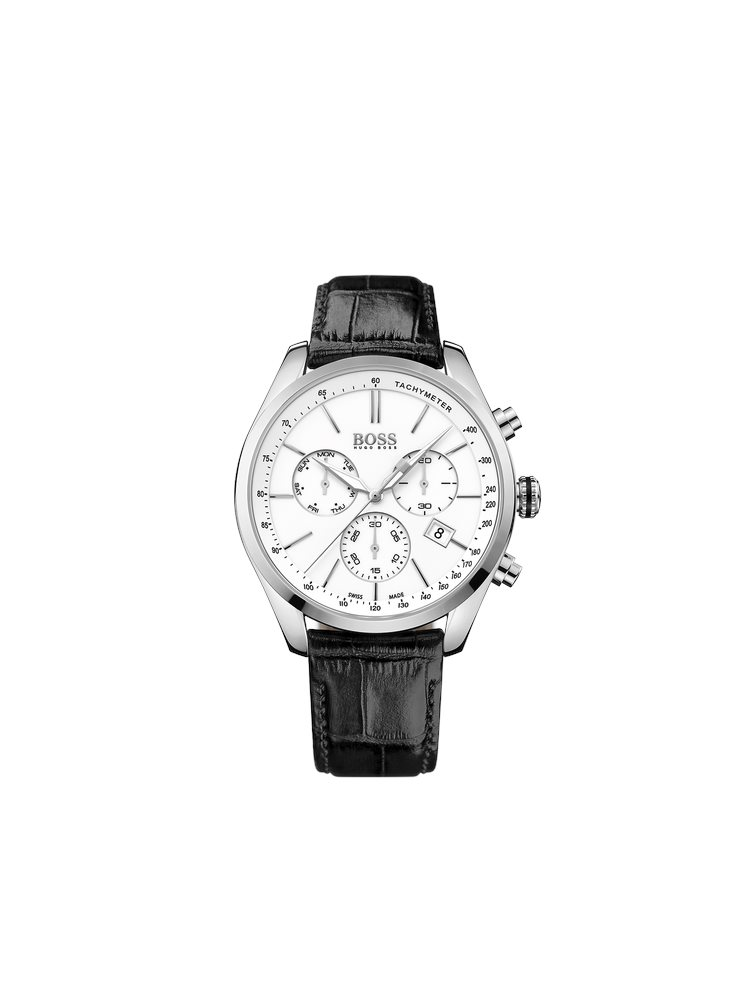 Hugo Boss Black Classic Signature Chronograph Brown Leather Strap 1513394