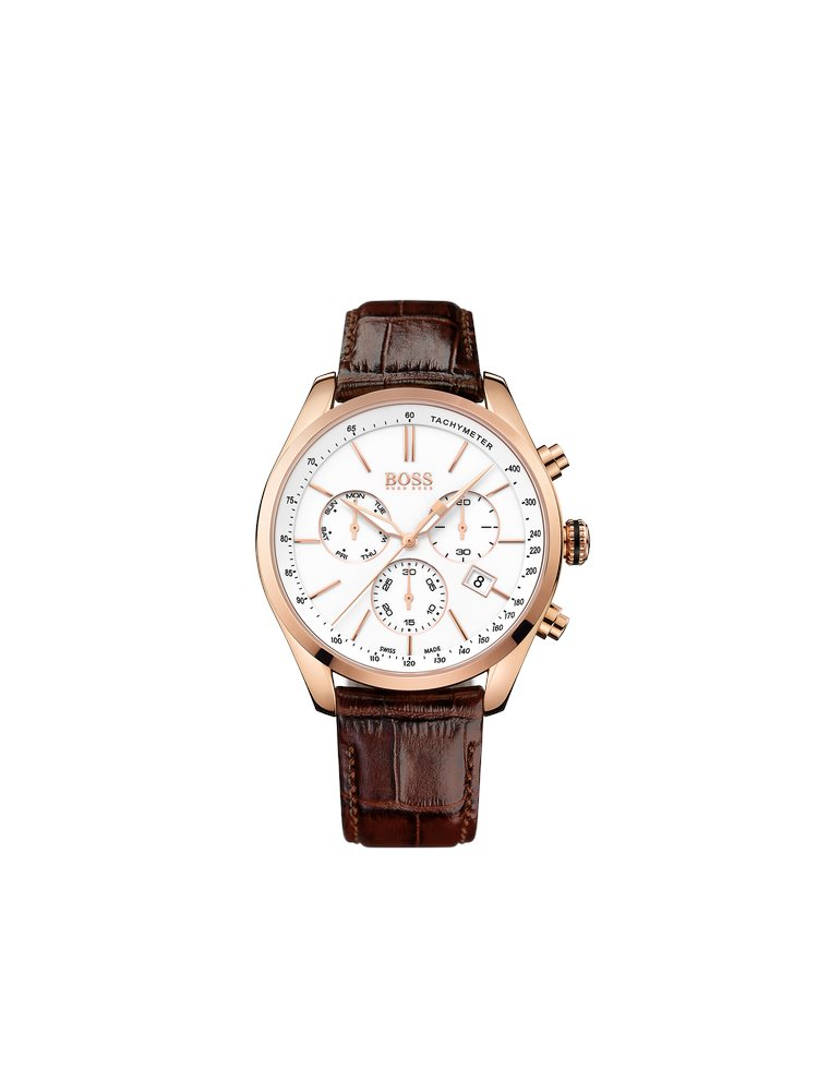 Hugo Boss Black Classic Signature Chronograph Brown Leather Strap 1513396