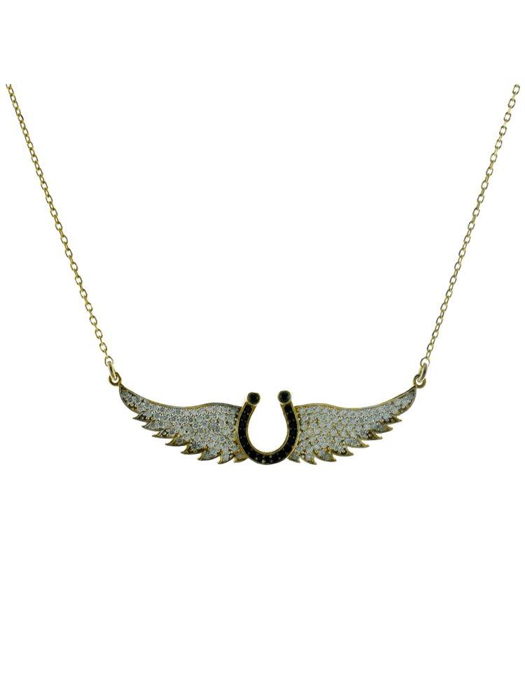 Εντυπωσιακό κολιέ φτερό αγγέλου από επιχρυσωμένο ασήμι με πέτρες ζιργκόν