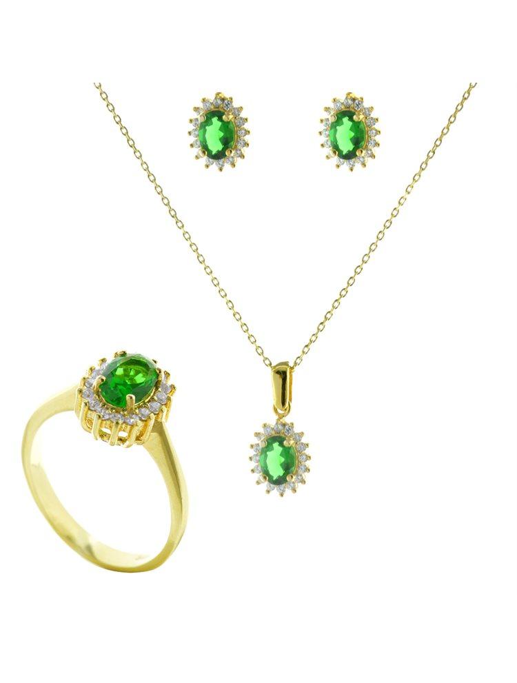 Εντυπωσιακό σέτ κολιέ δαχτυλίδι σκουλαρίκια από επιχρυσωμένο ασήμι με πέτρες ζιργκόν