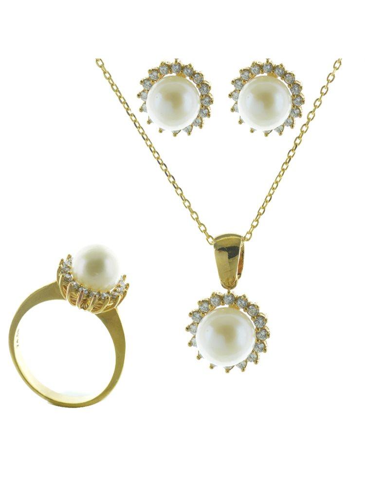 Εντυπωσιακό σέτ κολιέ δαχτυλίδι σκουλαρίκια από επιχρυσωμένο ασήμι με μαργαριτάρια και πέτρες ζιργκόν