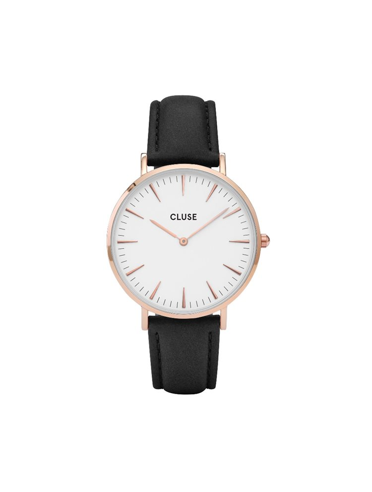 Cluse La Boheme Unisex Rose Gold/Black Leather Strap CL18008